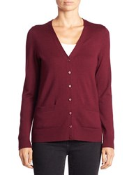 Lord And Taylor Merino Wool Button Front Cardigan Raspberry Wine