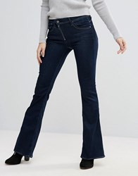 G Star Lynn Zip High Waisted Loxton Superstretch Flared Jeans Rinsed Navy