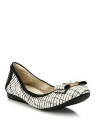 Cole Haan Tali Bow Printed Leather Ballet Flats White Black