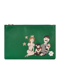 Dolce And Gabbana Family Embroidered Flat Pouch Female Green