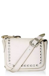 Topshop 'Rodeo' Studded Leather Crossbody Bag Ivory Cream