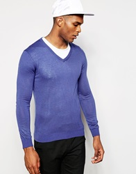 United Colors Of Benetton Knitted V Neck Jumper Blue538