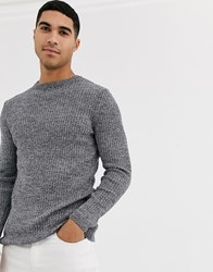 New Look Ribbed Muscle Fit Jumper In Grey Marl