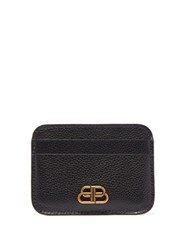 Balenciaga Bb Logo Grained Leather Cardholder Black