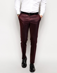 Noose And Monkey Pindot Suit Trousers In Skinny Fit Burgundy