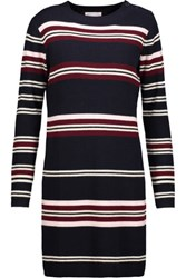 Chinti And Parker Ribbed Striped Wool Sweater Dress Midnight Blue