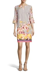 Eci Floral And Stripe Shift Dress Blush