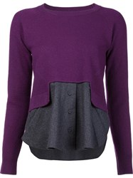 Carven Colour Block Knitted Top Pink Purple