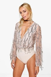 Boohoo Wrap Front Long Sleeve Sequin Bodysuit Gold