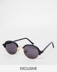 Reclaimed Vintage Round Clubmaster Sunglasses Black