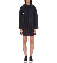 Chocoolate Outdoor Striped Hooded Shell Jacket Navy Pinstripe