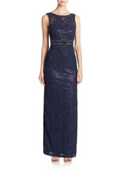 Sue Wong Sequined Draped Back Gown