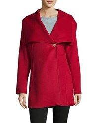 Laundry By Shelli Segal Cape Collar Mid Coat Red