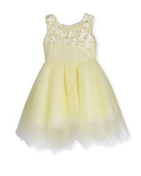 Zoe Belle Sleeveless Embroidered Tulle Dress Yellow Size 7 12