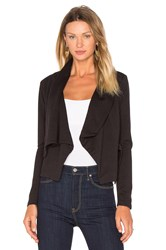 Bobi Black Knit Boucle Long Sleeve Front Draped Blazer