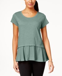 Style And Co Petite Layered Look Peplum T Shirt Only At Macy's Dusty Jade