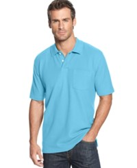 John Ashford Big And Tall Short Sleeve Pocket Pique Polo Shirt Pacific Blue