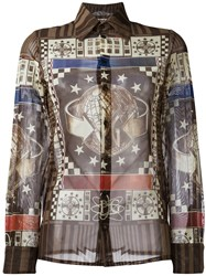 Jean Paul Gaultier Vintage World Print Shirt Brown