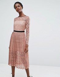 Endless Rose Lace Midi Dress With Pleated Skirt Pink