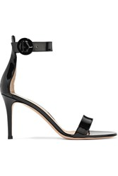 Gianvito Rossi Portofino Patent Leather Sandals Black