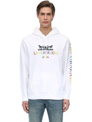 Levi's Embroidered And Printed Cotton Hoodie White