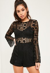 Missguided Black Lace High Neck Bra Insert Playsuit