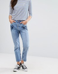 New Look Embroidered Mom Jeans Mid Blue