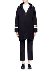 Neil Barrett Metallic Stripe Hooded Long Military Jacket Black