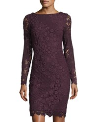 Tahari By Arthur S. Levine Long Sleeve Lace Sheath Dress Red