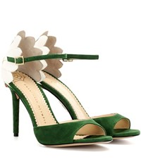 Charlotte Olympia Marge 100 Embellished Suede Sandals Green