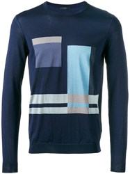 Pal Zileri Geometric Pattern Sweater Blue