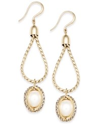 Charter Club Gold Tone Imitation Pearl Twisted Linear Earrings Only At Macy's