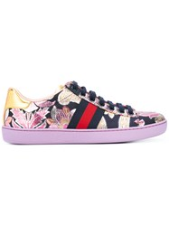 Gucci Ace Brocade Low Top Sneakers Women Leather Polypropylene Rubber 40 Pink Purple