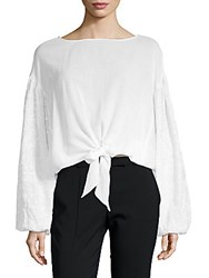 Kas Wendy Tie Front Puff Sleeve Top White