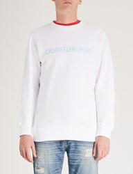 Ck Calvin Klein Institutional Cotton Jersey Sweatshirt Bright Wwhite