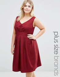 Koko Plus Textured Skater Dress With V Neck Wine