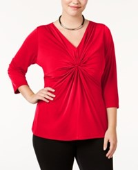 Ny Collection Plus Size B Slim Three Quarter Sleeve Top Rouge Lips