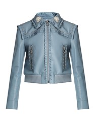 Miu Miu Crystal And Stud Embellished Leather Bomber Jacket Light Blue