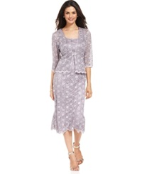 R And M Richards Sleeveless Sequined Lace Dress And Jacket Orchid
