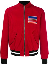 Msgm Zipped Leather Jacket Red