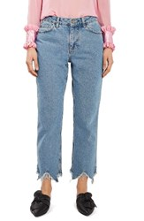 Topshop Women's Boutique Raw Hem Straight Leg Jeans