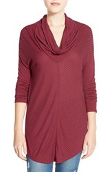 Petite Women's Halogen Mitered Rib Knit Cowl Neck Top