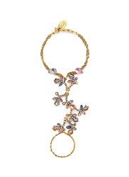 Erickson Beamon 'Botanical Garden' Swarovski Crystal Floral Chain Bracelet Multi Colour