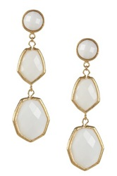 Rivka Friedman 18K Gold Clad Triple Dangle Deco Design Faceted White Agate Earrings