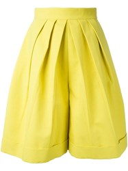 Delpozo Front Pleat Shorts Yellow Orange