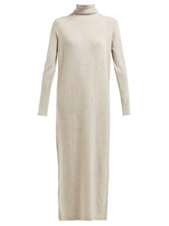 Allude Roll Neck Wool And Cashmere Blend Maxi Dress Brown