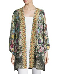 Camilla Embellished Belted Cardigan Black Multi Women's