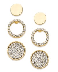 Thalia Sodi Gold Tone 3 Pc. Set Polished And Pave Stud Earrings Only At Macy's