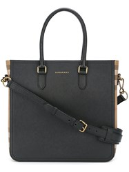 Burberry Checked Detail Tote Black