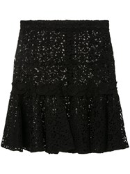 Giambattista Valli Embroidered Middle Skirt Black